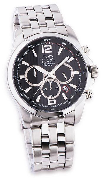 Luxusní pánský chronograf se stopkami hodinky JVD steel JA601.2 černý číselník