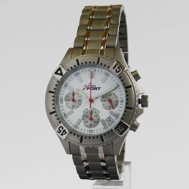 Celotitanové pánské hodinky Olympia 10110 - chronograf 5ATM