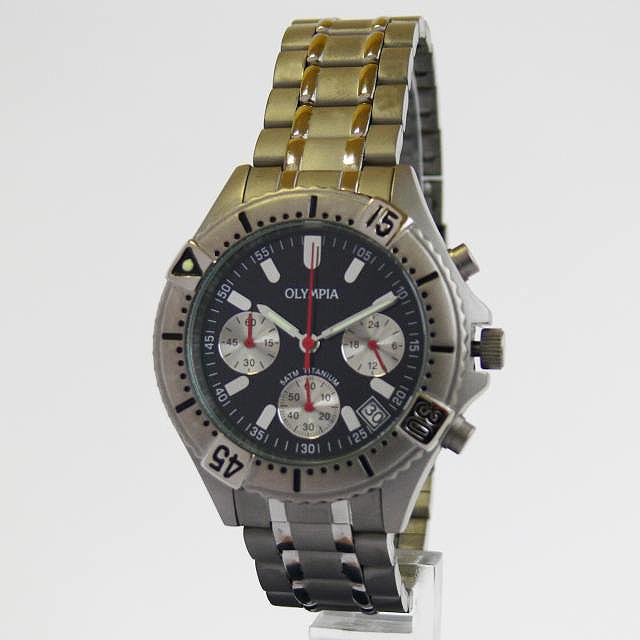 Luxusní pánské titanové hodinky Olympia 10111 s chronografem 5ATM