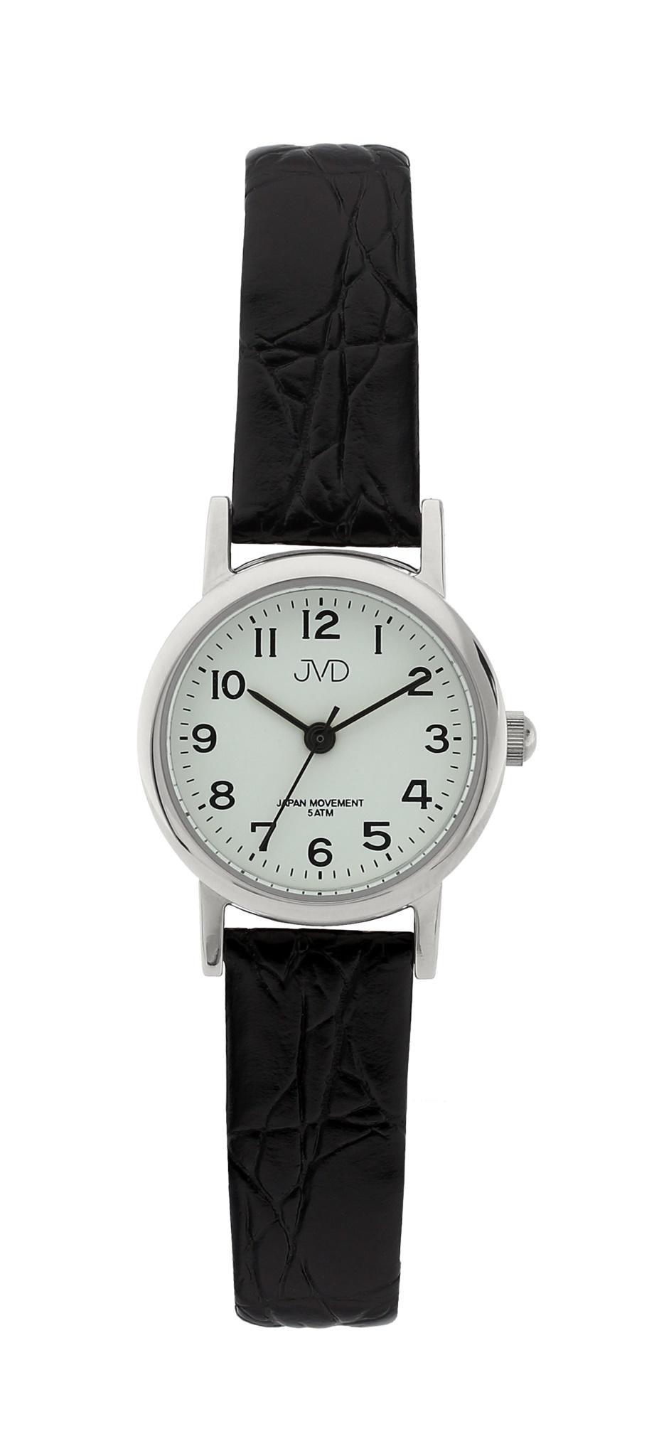 Dámské společenské náramkové hodinky JVD steel J4010.2 na koženém pásku