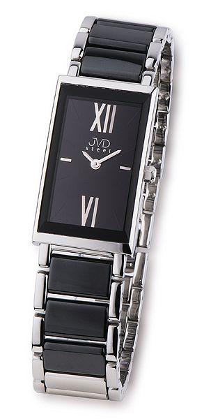 Černé dámské luxusní keramické náramkové hodinky JVD steel W23.1 černá keramika