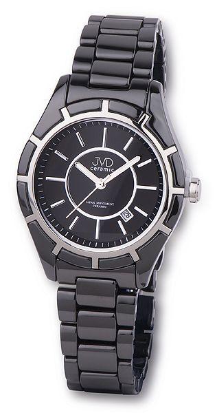 Luxusní černé společenské keramické náramkové hodinky JVD ceramic J6007.2