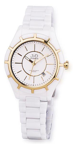 Luxusní bílé společenské keramické zlacené náramkové hodinky JVD ceramic J6007.3
