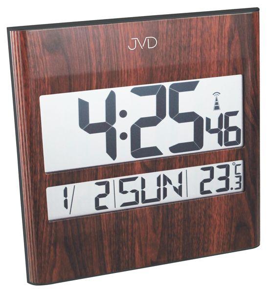 Tmavě hnědé dřevěné rádiem řízené digitální hodiny JVD RH111.1 (na zeď i stolní)