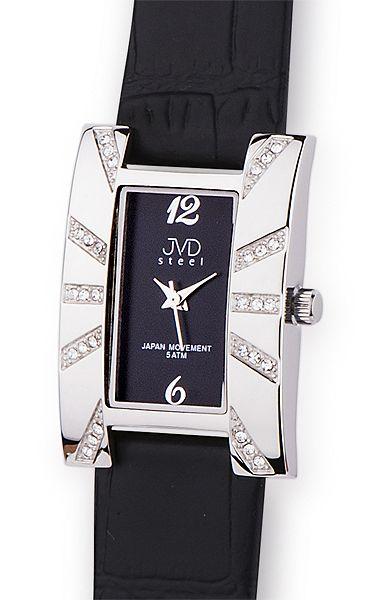 Luxusní černé dámské náramkové hodinky JVD steel J4102.2 5ATM