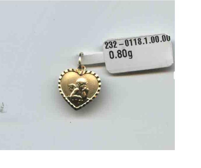 Zlatý přívěsek - zlatý anděl v srdíčku ze žlutého zlata 585/0,8gr P112 (2320118-1-0-0)