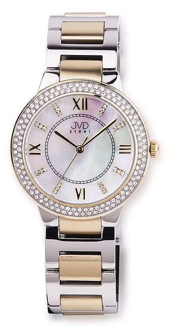 Elegantní šperkové dámské hodinky JVD steel JA045.3 s fasovanými zirkony