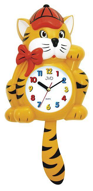 Dětské žluté nástěnné hodiny JVD HF 64.1 kočka s kyvadlem