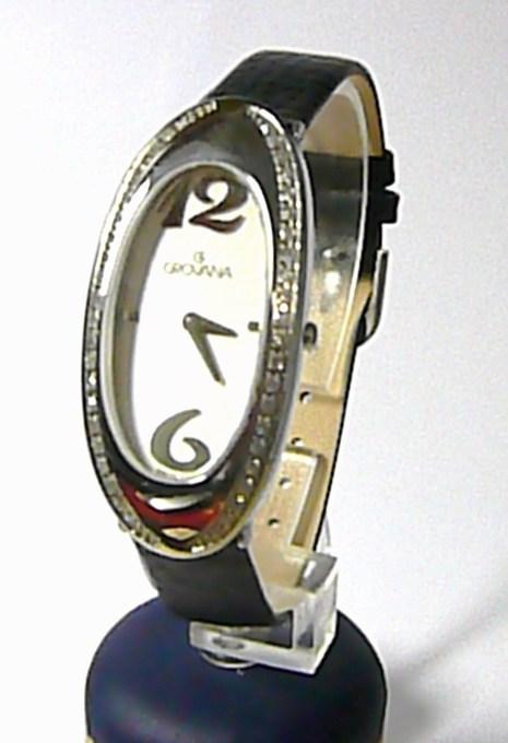 Luxusní dámské švýcarské hodinky Grovana 4414.7532 se zirkonama na kůži