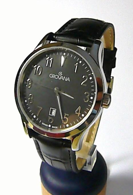 Luxusní pánské švýcarské hodinky Grovana 1204.1534 se safírovým sklem na kůži (1204.1534)