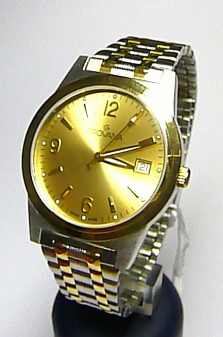 Pánské zlacené luxusní švýcarské hodinky Grovana 1514.1141 se safírovým sklem (1514.1141)