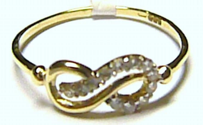 """Dámský """"nekonečný"""" zlatý prsten osetý zirkony (12 ks) vel. 55/0,9 gr S056"""