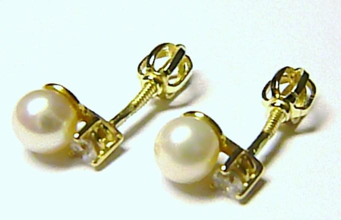 Luxusní dámské zlaté náušnice s perlou a zirkony - zlaté pecičky 585/1,55gr S058