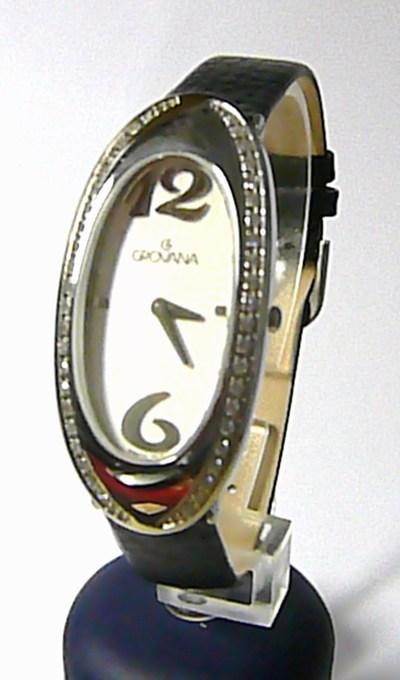 Luxusní dámské švýcarské hodinky Grovana 4414.7532 se zirkonama na kůži (4414.7532)