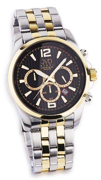 Luxusní pánský chronograf se stopkami hodinky JVD steel JA601.3 - bicolor