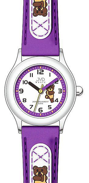 Dětské fialové dívčí náramkové hodinky JVD basic J7034.5 s medvídkem