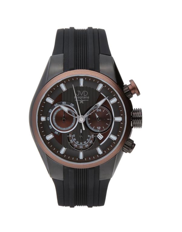 Vodotěsné černé luxusní chronograph náramkové hodinky JVD seaplane JS21.2 10ATM