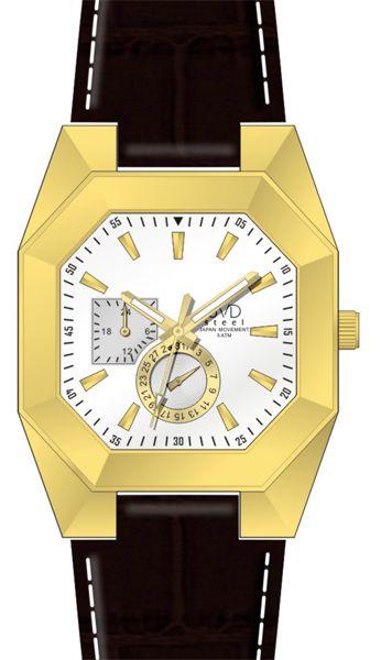 Designové hranaté ocelové zlaté náramkové hodinky JVD steel J1052.2 - 5ATM