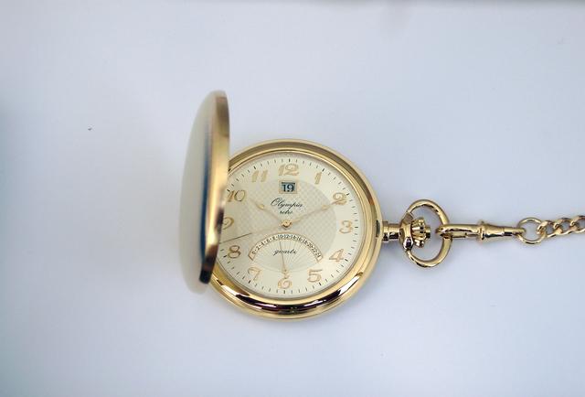 Zlaté luxusní Olympia kapesní hodinky 35002 s řetízkem v ceně