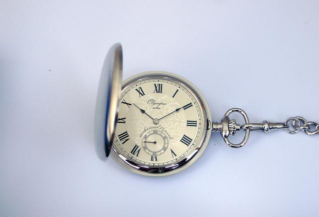 Luxusní stříbrné mechanické Olympia kapesní hodinky 35030 s římskými číslicemi