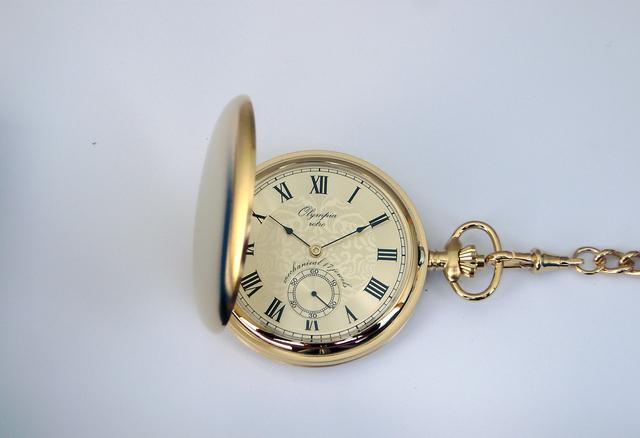 Luxusní zlaté mechanické Olympia kapesní hodinky 35032 s římskými číslicemi