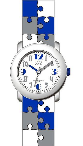 Dětské barevné modré náramkové hodinky JVD basic J7124.2 s motivem PUZZLE