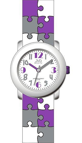 Dětské barevné fialové náramkové hodinky JVD basic J7124.3 s motivem PUZZLE