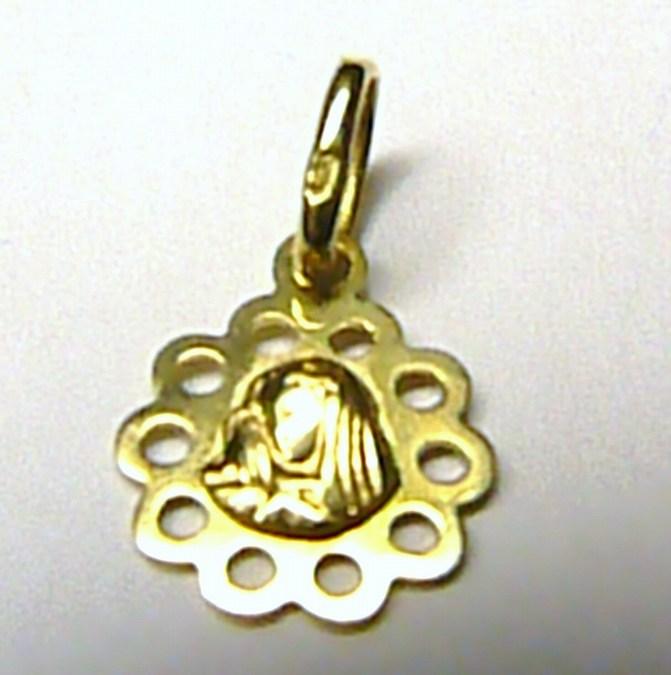Zlatý přívěsek - zlatá madonka průměr 10mm 585/0,45gr S098
