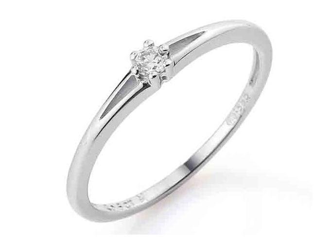 Zásnubní prsten s diamantem, bílé zlato brilianty 585/1,25gr DIAMANT Sl / H (3860065-0-51-99)