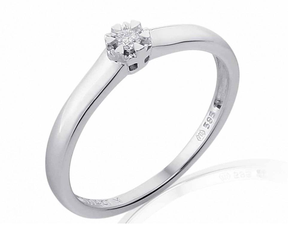 Luxusní zásnubní prsten s diamantem, bílé zlato brilianty 585/1,75gr (3861832-0-54-99)