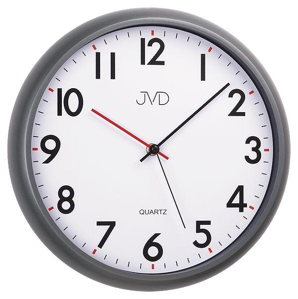 Moderní tiché černošedé nástěnné hodiny JVD sweep HA2.2