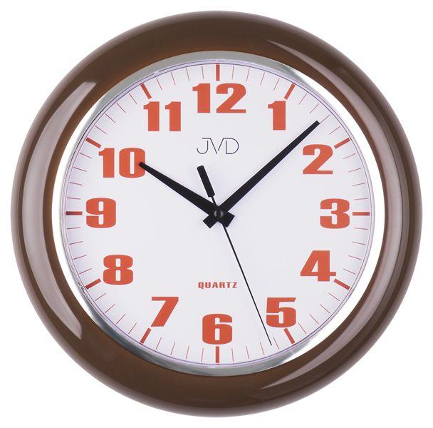 Moderní čitelné hnědé netikající tiché nástěnné hodiny JVD sweep HA5.1