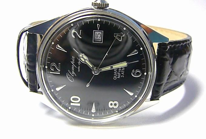 """Luxusní pánské """"retro styl"""" hodinky Olympia 72002 na koženém pásku"""