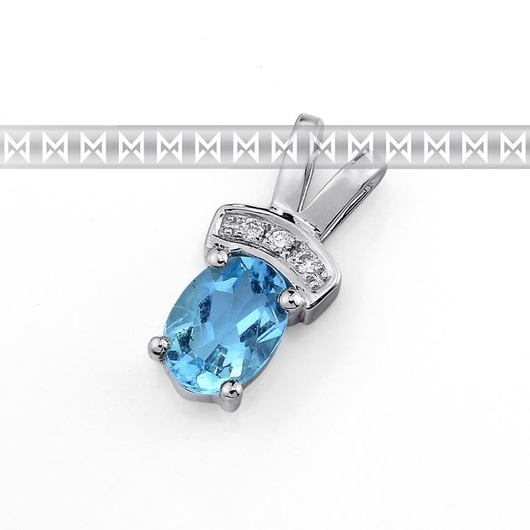 Luxusní přívěsek z bílého zlata s velkým modrým topazem (blue topaz) a diamanty