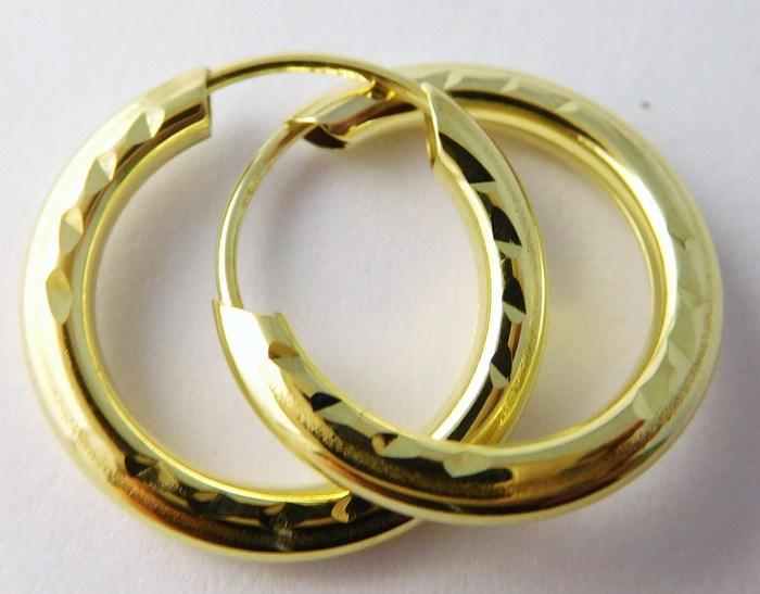 Zlaté kruhy - zlaté náušnice kroužky 15mm 585/0,55gr T055