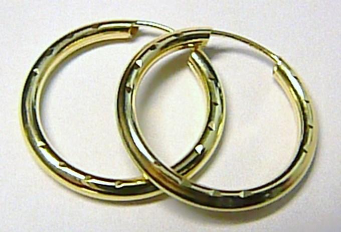 Luxusní velké zlaté kruhy - kroužky 20mm 585/0,75gr T062