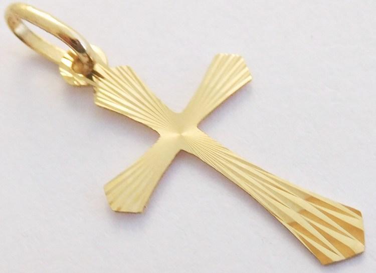 Zlatý přívěsek - zlatý křížek s gravírováním 585/0,35gr T075