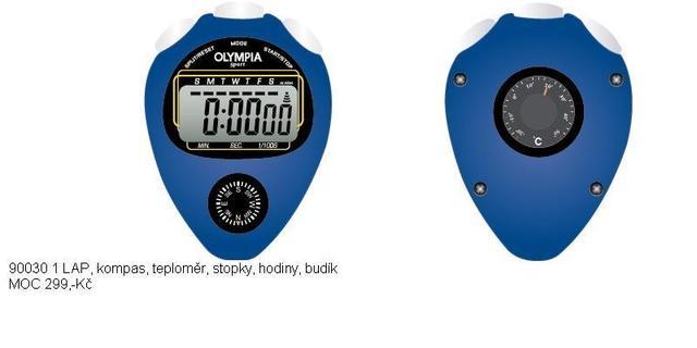 Moderní digitální modré Olympia stopky 1 Lap přívěškové 90030