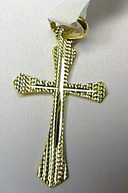Velký zlatý křížek - zlatý přívěsek s gravírováním 585/0,40gr - 28x18mm T077