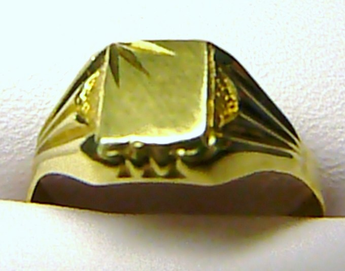 Mohutný zlatý pánský prsten ze žlutého zlata 585/2,3gr T083 vel. 62
