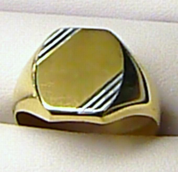 Obrovský mohutný pánský zlatý prsten - dvojí zlato 585/5,37gr T085 vel. 73