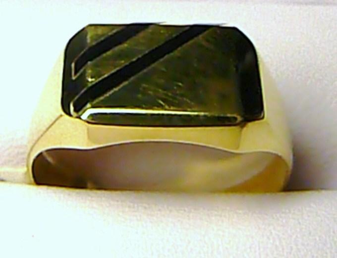 Obrovský mohutný pánský zlatý prsten s černým onyxem 585/4,86g T087 vel. 74