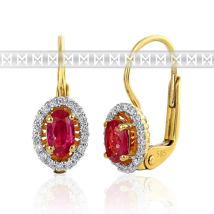 Diamantové náušnice s diamanty a velkým červeným rubínem alá Kate Middleton
