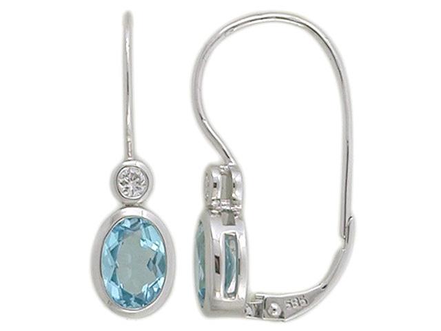 Luxusní diamantové zlaté náušnice s diamanty a modrými topazy (blue topaz)