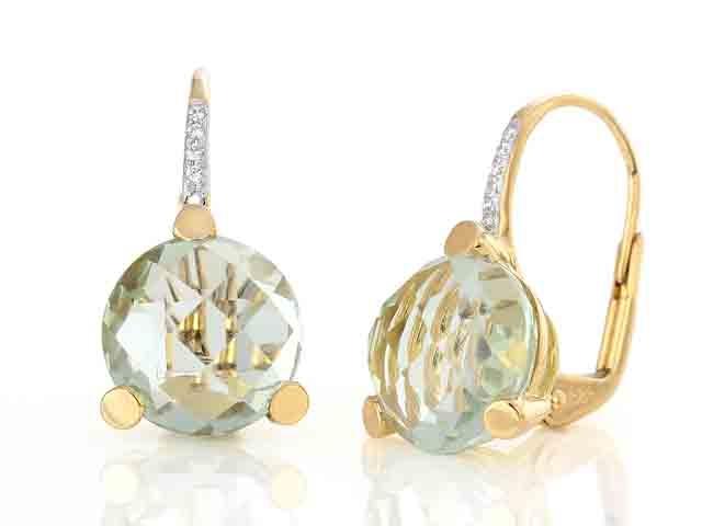 Luxusní diamantové zlaté náušnice s diamanty a zeleným ametystem (vzácný) (3830341-5-0-83)