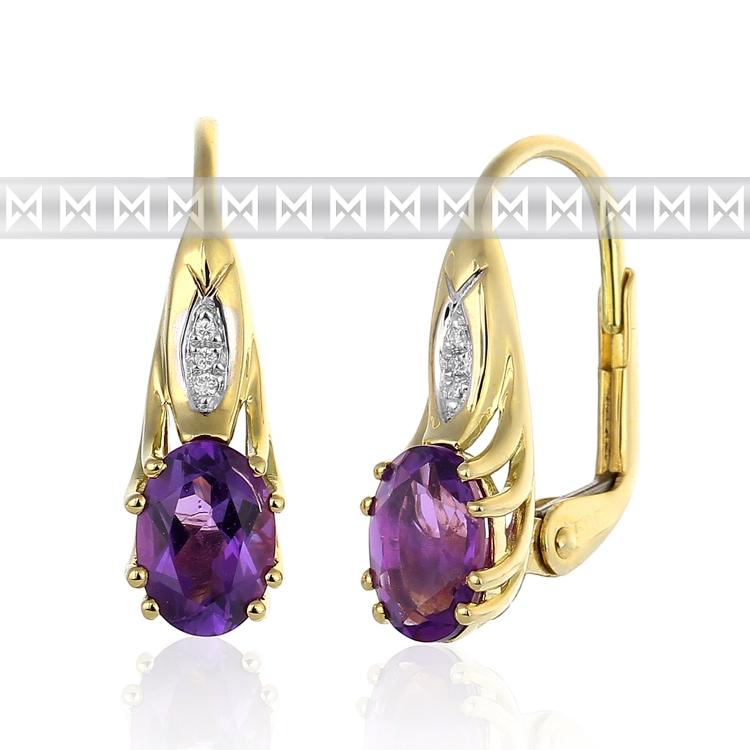 Dámské diamantové luxusní náušnice s diamanty a přírodním fialovým ametystem 2,7