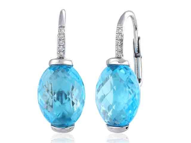 Diamantové náušnice s přírodními diamanty a modrými topazy (velké) blue topaz