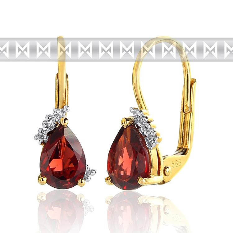 Luxusní diamantové zlaté náušnice s českým granátem a diamanty 585/1,7gr (3830063-5-0-81)