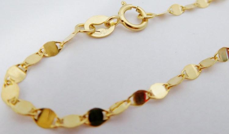 Dámský zlatý ploškový řetízek ze žlutého zlata 42cm - 585/1,30gr H078