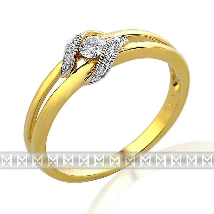 Diamantový prsten ze žlutého zlata (i zásnubní) s 11ks diamantů 585/2,3gr vel.56